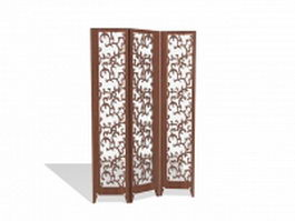 Vintage wood folding screen 3d preview