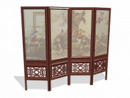 Chinese folding screen 3d preview