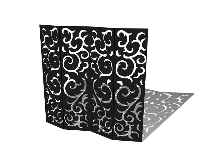 Black folding divider screens 3d rendering