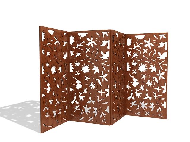 Folding wood room divider 3d rendering