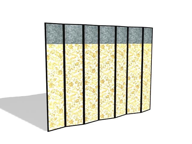 Fabric folding room divider 3d rendering