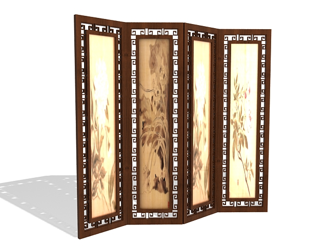 Antique Chinese screens room divider 3d rendering