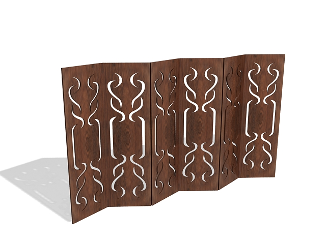 Carved wood privacy screen 3d rendering