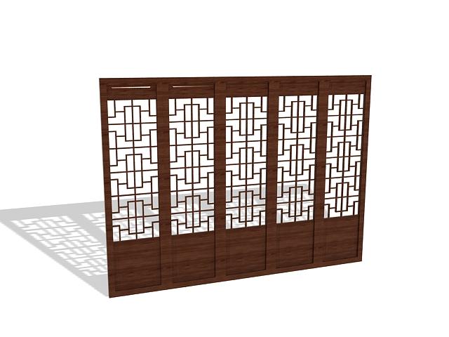Lattice room divider screens 3d rendering