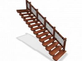 Open riser stair 3d preview