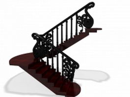 Vintage indoor staircase 3d preview