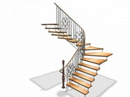 Vintage open staircase 3d model preview