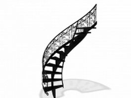 Wrought iron staircase 3d model preview
