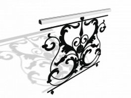 Wrought iron staircase railing 3d preview