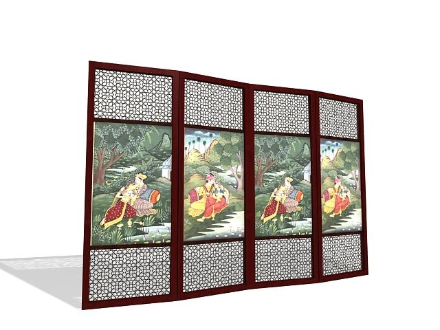 Decorative room dividers 3d rendering