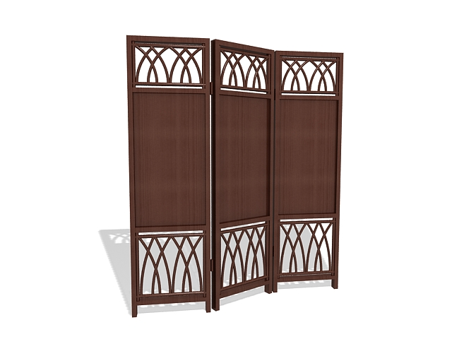 Wood folding screens 3d rendering