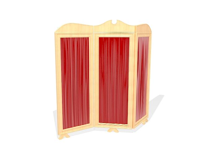 Red folding screen 3d rendering