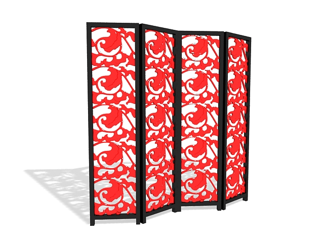Carved folding screen 3d rendering