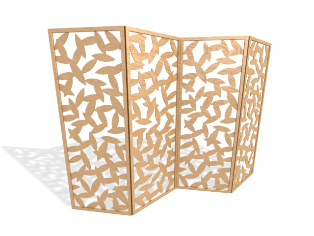 Carved wood folding screen 3d rendering