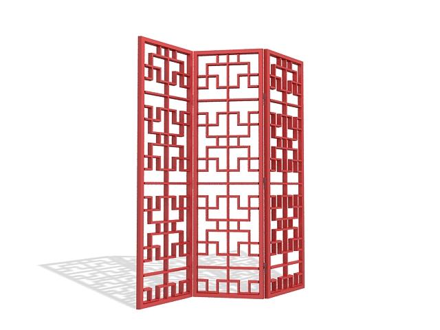 Latticework screen room divider 3d rendering