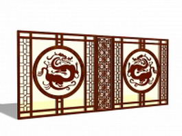 Chinese style room partition panels 3d model preview