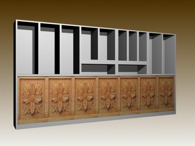 Wall unit room divider 3d rendering