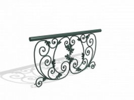 Stair railing design 3d model preview