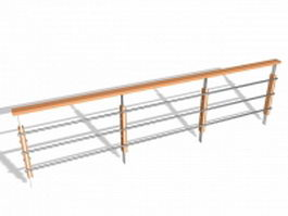 Wood and metal indoor railings 3d model preview