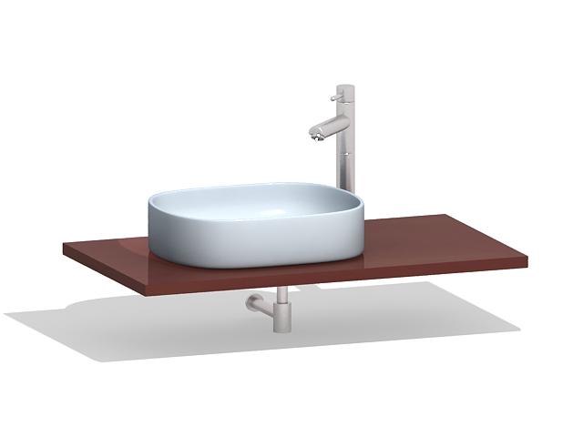 Wall hung bathroom vanity 3d rendering