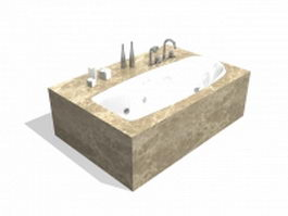 Bathtub with marble surround 3d preview