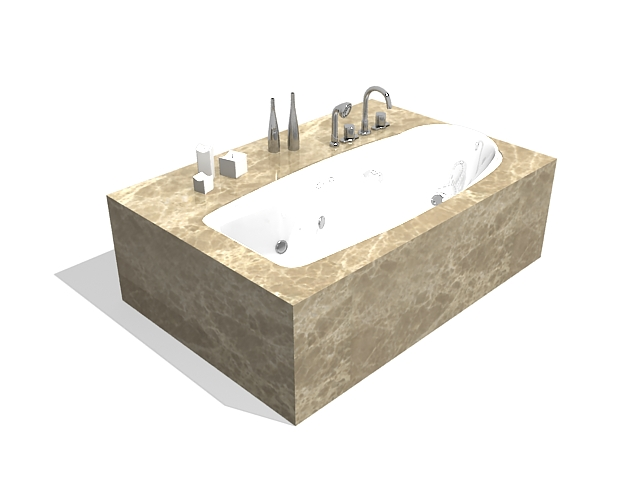 Bathtub with marble surround 3d rendering