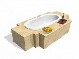 Bathtub with tile surround 3d preview