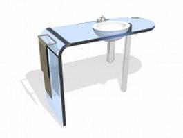 Blue glass countertop bathroom vanity 3d model preview