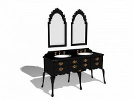 Antique bathroom vanity with mirror 3d preview