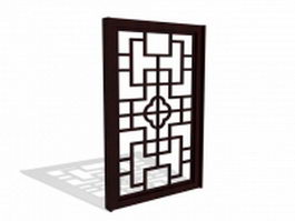 Asian window panel 3d preview