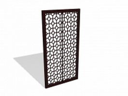 Glass wood divider panel 3d model preview