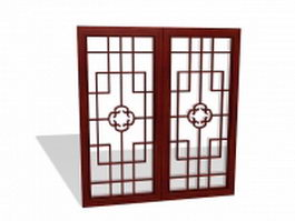 Chinese lattice window panels 3d preview