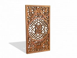 Chinese wood room divider panel 3d preview