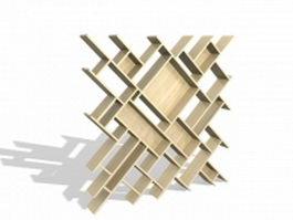 Geometric wood partition panel 3d model preview