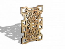 Antique Chinese window screen 3d model preview