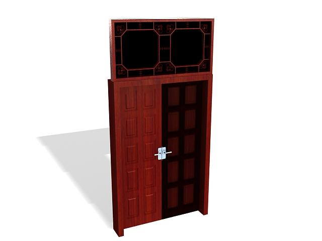 Wood entry door with lites 3d rendering