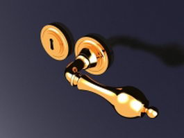 Brass door handle and lock 3d preview