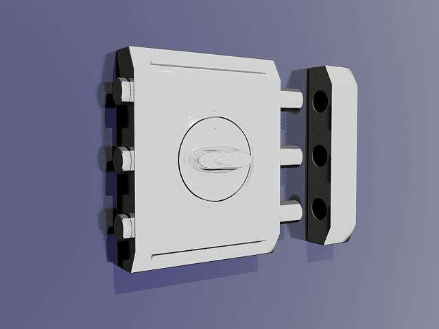 Security door lock 3d rendering