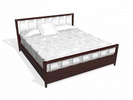 Modern bed with mattress 3d model preview