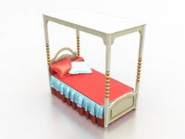 Canopy bed for girls room 3d model preview