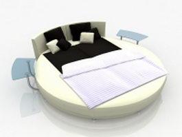 Modern round platform bed 3d model preview