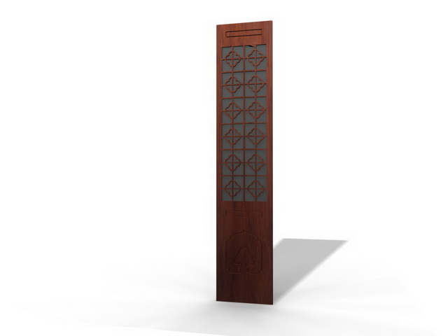 Chinese room divider panel 3d rendering