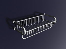 Metal bathroom wall shelf with towel bar 3d preview
