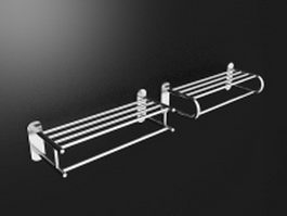 Bathroom wall shelf with towel bar 3d preview