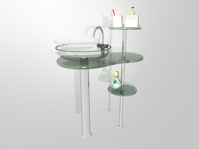 Wall mounted glass vanity with rack 3d rendering