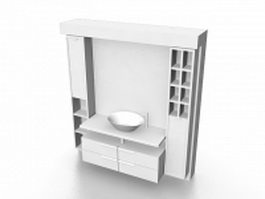 Bathroom vanity with wall storage 3d preview
