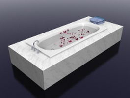 Marble surround bathtub 3d preview