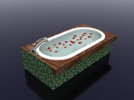 Outdoor mosaic tile bathtub 3d preview