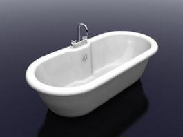 Bathtub with faucet 3d preview