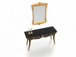 Vintage vanity table with mirror 3d preview